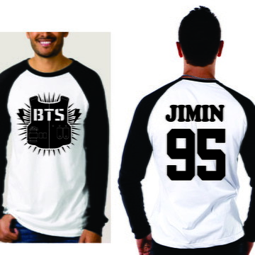 96f4d2250a Camiseta Raglan Manga Longa a Bts Jimin