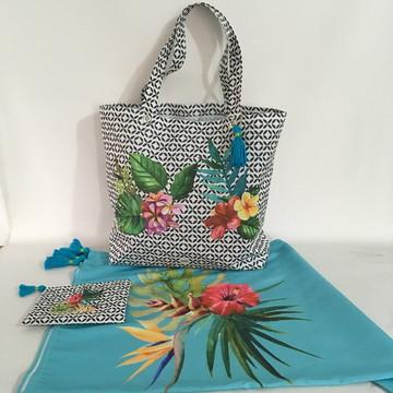 Kit Praia: Bolsa, Canga e Necessaire