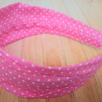Tiara faixa rosa poa branco