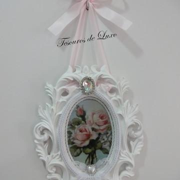Quadro Oval Rosas Antigas Arabescos Shabby Chic Provençal
