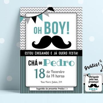 Convite Chá de Fradas (Grátis tag) - Moustache