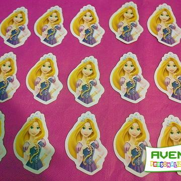 Kit c/ 20 Apliques p/tubetes do tema Rapunzel meio corpo