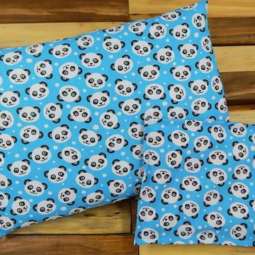 Kit de almofadas retangular e térmica com ervas - pandas