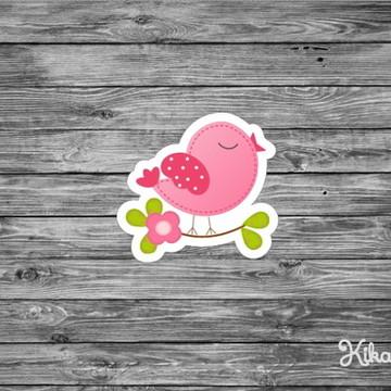 150 Apliques Pássaro Rosa 3,5 cm Tags Toppers