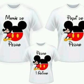 Camiseta mickey pai mae e filho