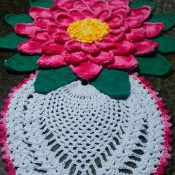 Trilho de mesa mega flor em crochê