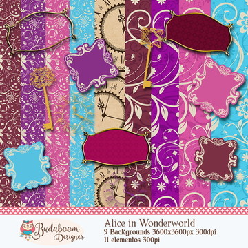 Kit Digital Scrapbook Alice Wonderland