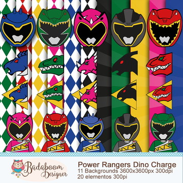 Kit Digital Scrapbook Power Rangers Dino Charge