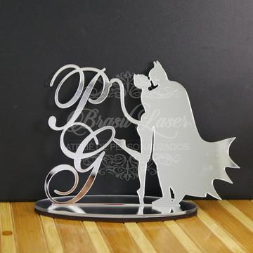 Topo de Bolo em Acrílico Esp. Prata Mulher Gato e Batman
