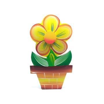 Porta Rolo de Papel Toalha Flor no vaso na cor Amarelo