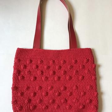 2cec8f7ea Bolsa de crochê com alça de couro - modelo pipoca - vermelha