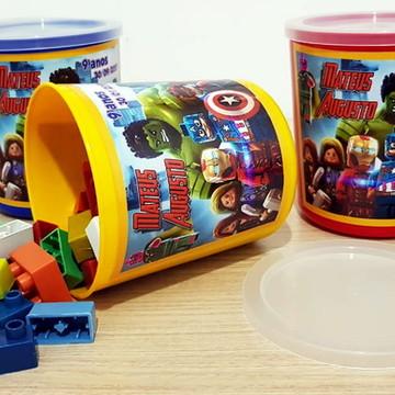 Pote com Peças para Montar Lego Marvel (Tipo Lego)