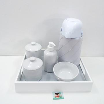 Coleção Nervuras - Kit Higiene Nervuras Cinza e Branco BL31
