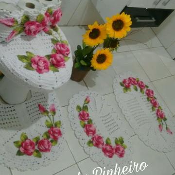 Jogo de banheiro oval com rosas