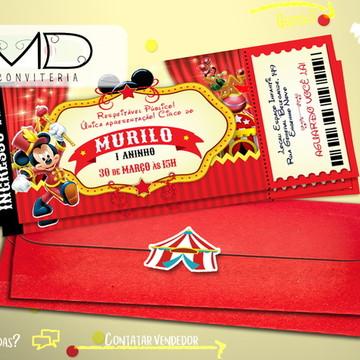 Convite Ingresso Circo Mickey