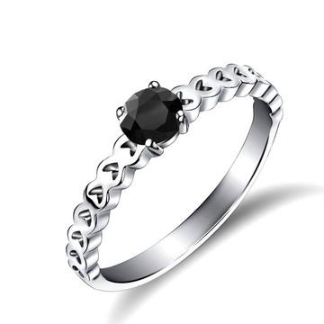 Anel Luxo Corações Prata 925 Black Onix - FRETE GRÁTIS