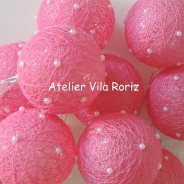 Cordão de Luz Mini Pérolas Pink!!