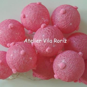 Cordão de Luz Mini Pompons Pink!!