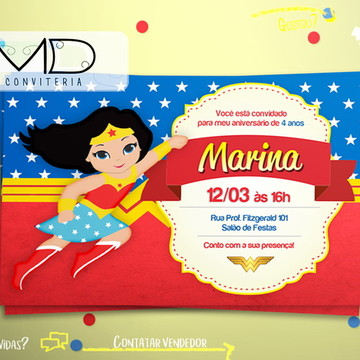 Convites Personalizados Mulher Maravilha