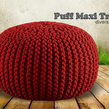 Puff Maxi Tricot Médio --- Diversas cores