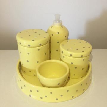 Kit Higiene Amarelo c/ Poá Cinza - Cerâmica