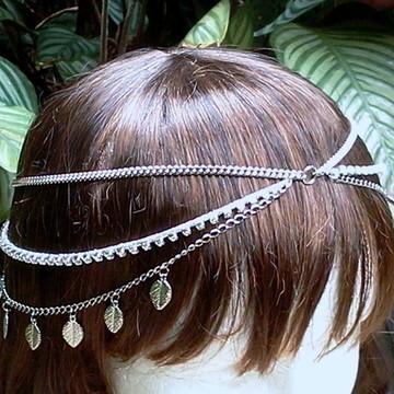 Tiara estilo head chain boho com folhinhas prateada