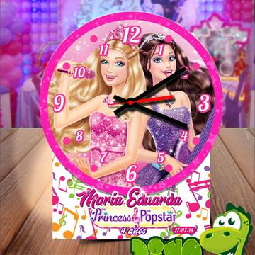 Centro de mesa Relógio Barbie princesa e Popstar