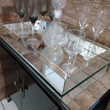 Bandeja Espelho Liso Prata 45 x 60 cm