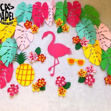 Painel de Flamingos - Festa tropical