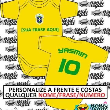 Body Brasil Copa 2018- Personalize FRENTE COSTAS