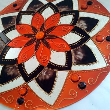 Mandala Marrom e Laranja em espelho de 30cm