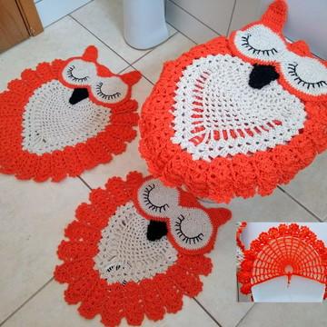 Jogo de Banheiro Corujas Grandes em Crochê 3 peças