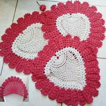 Jogo de banheiro Coração em crochê 3 peças