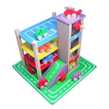 Posto de Gasolina com Garagem - Madeira - Multicolorido - Be