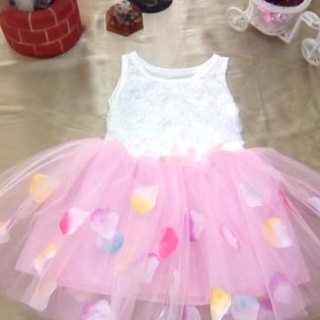 4a5a0486e1 Vestido Infantil Algodão com Renda Saia Tule Rosa 2-3 anos