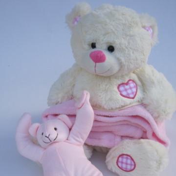 Kit com Cobertor infantil e Segura chupeta de Ursinho