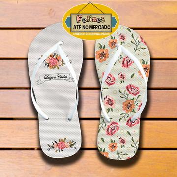 Chinelo Lembrança de Casamento Tema Rosas - Maravilhoso !