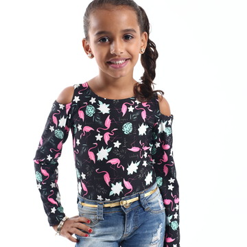 Body infantil feminino Flamingo
