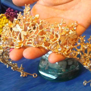 Coroa Tiara Cristais Acessório Cabelo Noivas Dourado Luxo 1