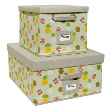 Conjunto de Caixas de Tecido com Ident e Alças-Abacaxi Linho