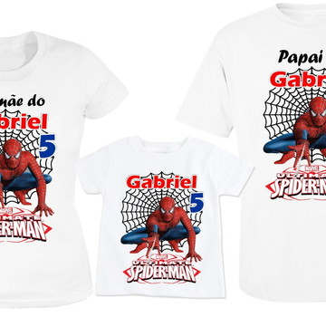 Kit 3 camisetas Aniversario Homem Aranha