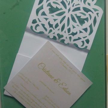 Convite de casamento + envelope rendado