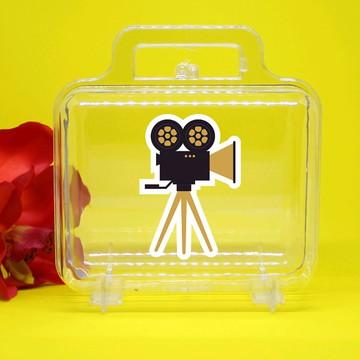 Maletinha de acrílico - cinema Hollywood câmera