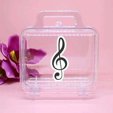 Maletinha de acrílico - notas musicais