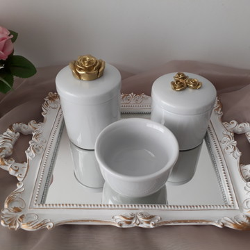 Kit Higiene com Potes Porcelana flores