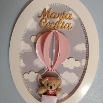 Quadro Porta Maternidade Ursinha no Balão