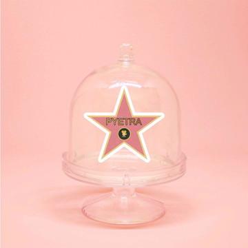Mini-cúpula com aplique com texto- estrela calçada da fama