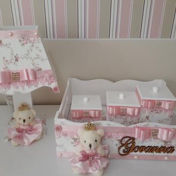 Kit higiene floral rosa para menina