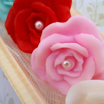 rosa mini com 4, lembrancinha provence