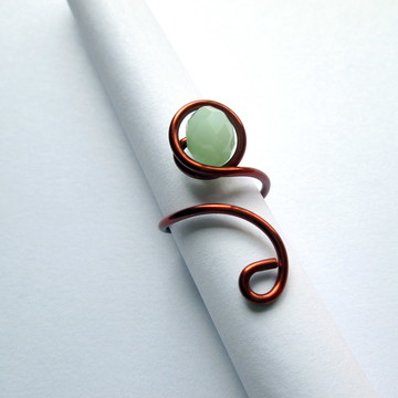 Anel de Cobre - Cristal Verde